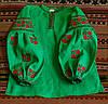 """Сорочка """"Троянди"""" зелена з червоною вишивкою"""