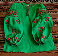 """Сорочка """"Троянди"""" зелена з червоною вишивкою, фото 1"""
