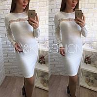 Белое платье из ангоры с кружевной вставкой АРТ 033