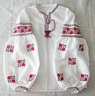 """Сорочка """"Троянди"""" біла з червоно/чорною вишивкою, фото 1"""