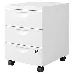 ERIK Шкаф 3 szufl/колесики, белый 101.518.09