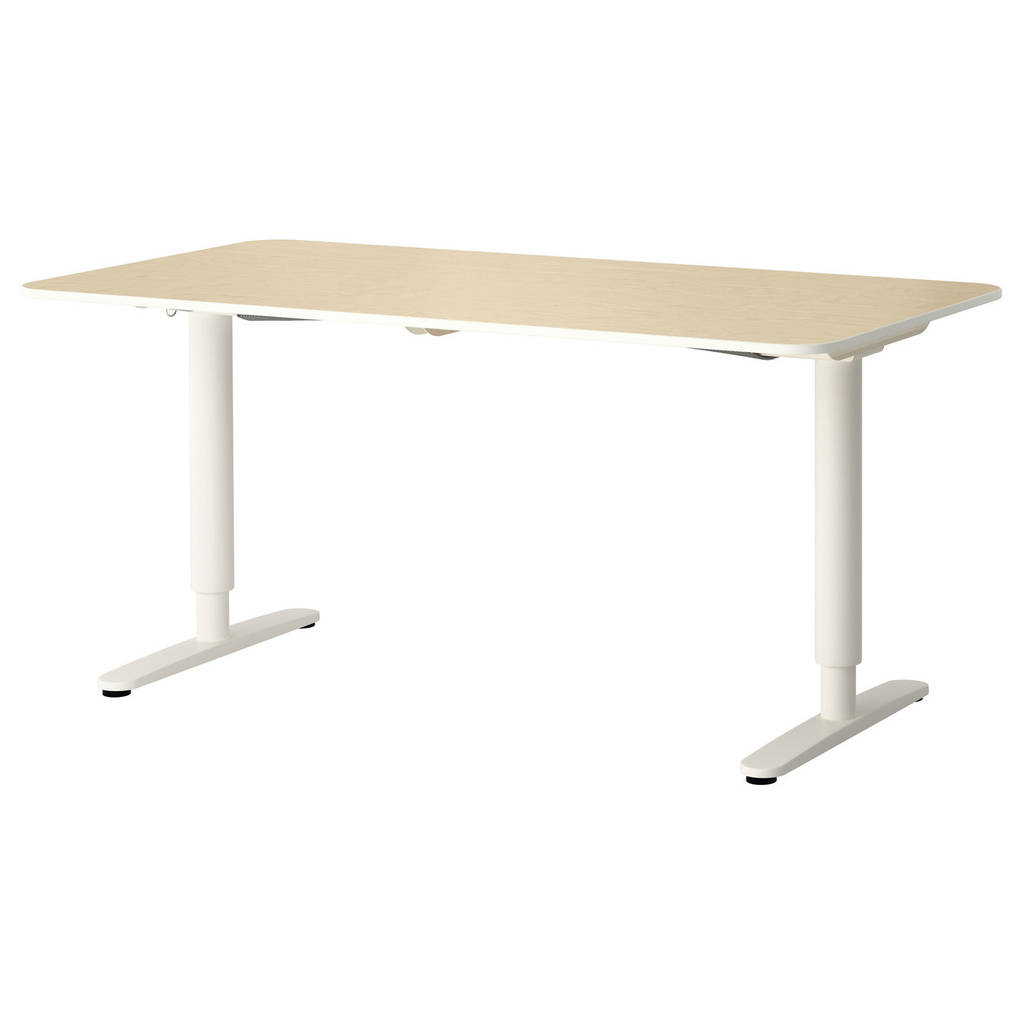 Компьютерный стол IKEA BEKANT 160x80 см с регулируемой высотой березовый шпон белый 190.225.25