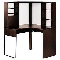 Компьютерный стол IKEA MICKE угловой черно-коричневый 502.447.41