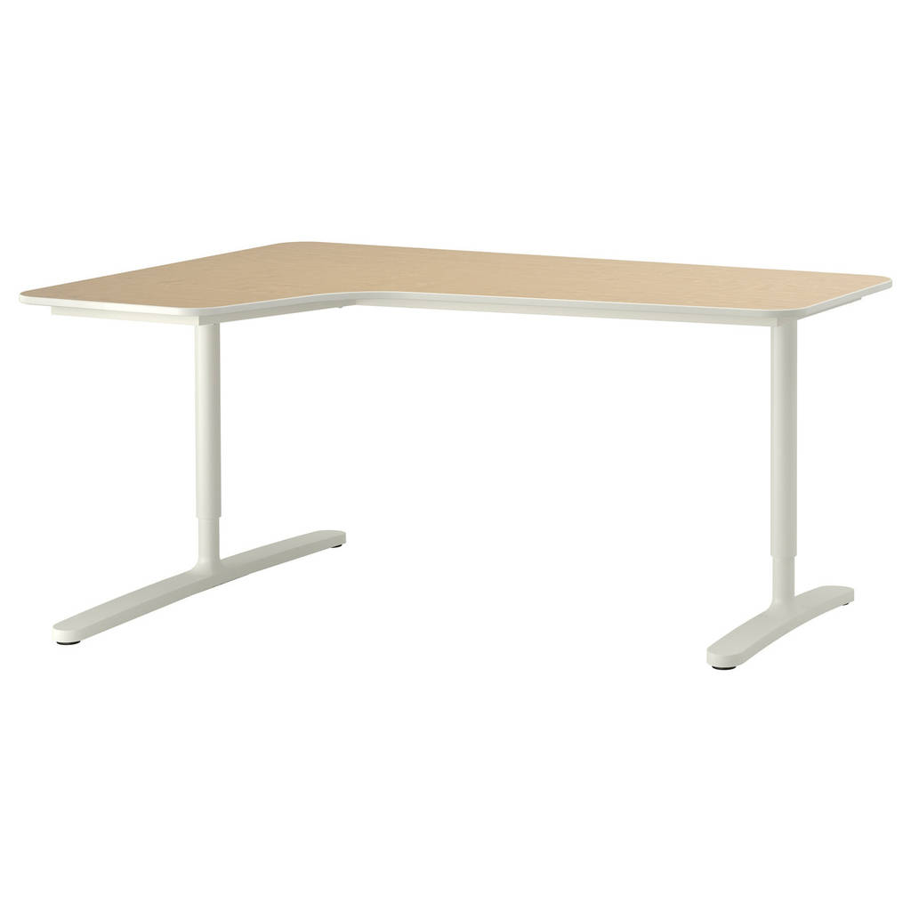 Компьютерный стол IKEA BEKANT 160x110 см угловой березовый шпон белый 690.063.92
