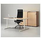 Компьютерный стол IKEA BEKANT 160x110 см угловой березовый шпон белый 690.063.92, фото 3