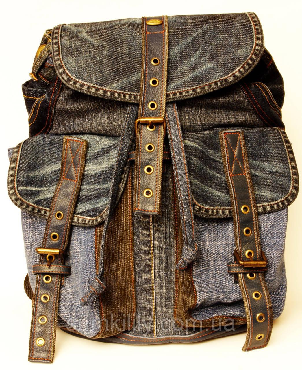 Джинсовый рюкзак с темно синей кожей