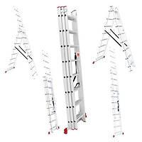 Лестница алюминиевая 3-х секционная универсальная раскладная 3*12ступ. 7.89м