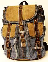 Рюкзак из джинсов с вельветом и коричневой кожей, фото 1