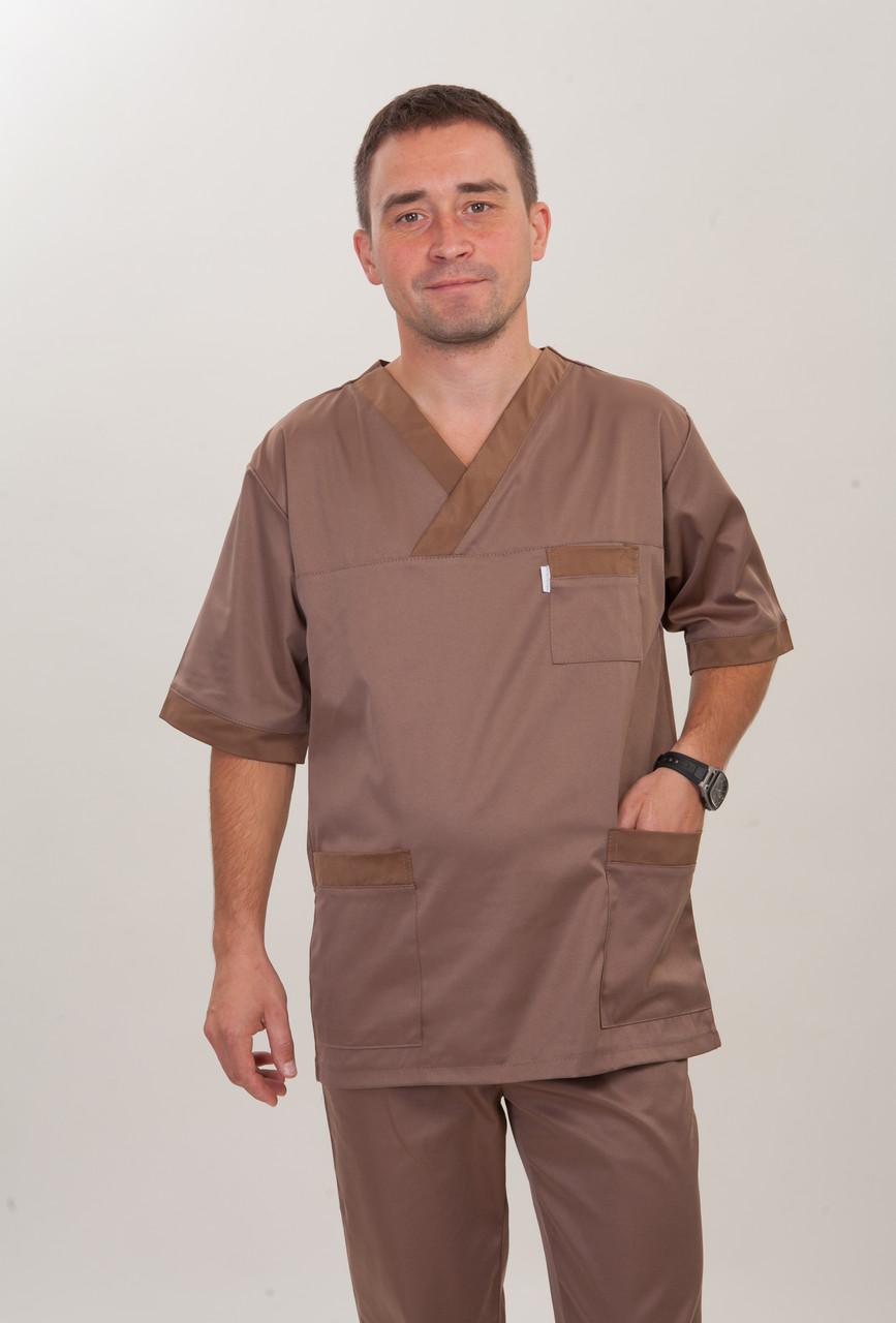 Коричневый медицинский мужской костюм