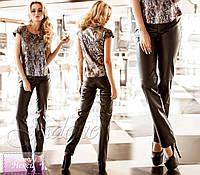 """Модные женские брюки """"Некси"""" (стрейчевая эко-кожа, цвет черный, прямые)"""