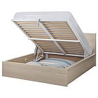 MALM Кровать с подъемным механизмом, дубовый шпон, беленый