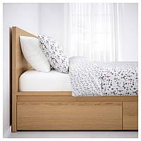 MALM Каркас кровати, высота, 4 емкости, дубовый шпон × белый, Leirsund