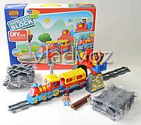 Детская игрушечная железная дорога конструктор поезд, звук, свет Intelect Block