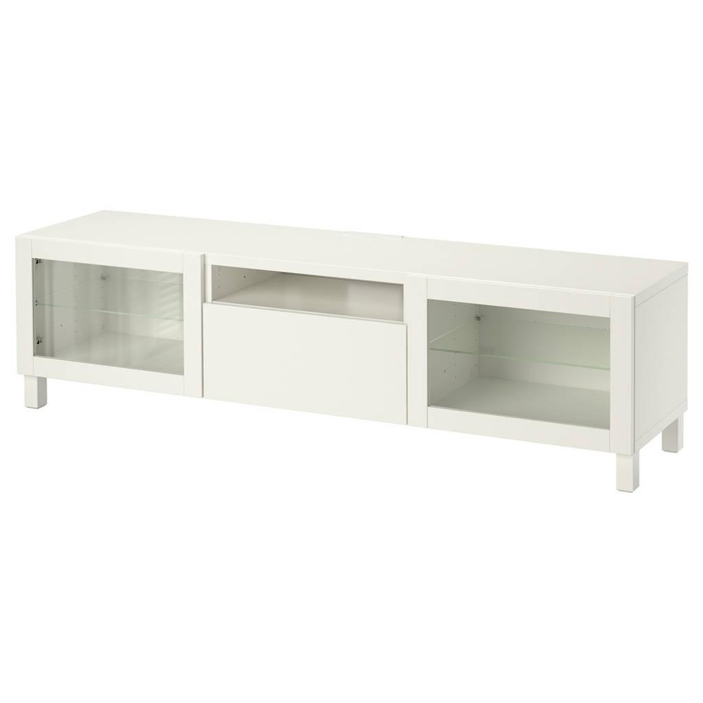 BESTÅ Тумба под ТВ, Lappviken, Sindvik белый прозрачное стекло