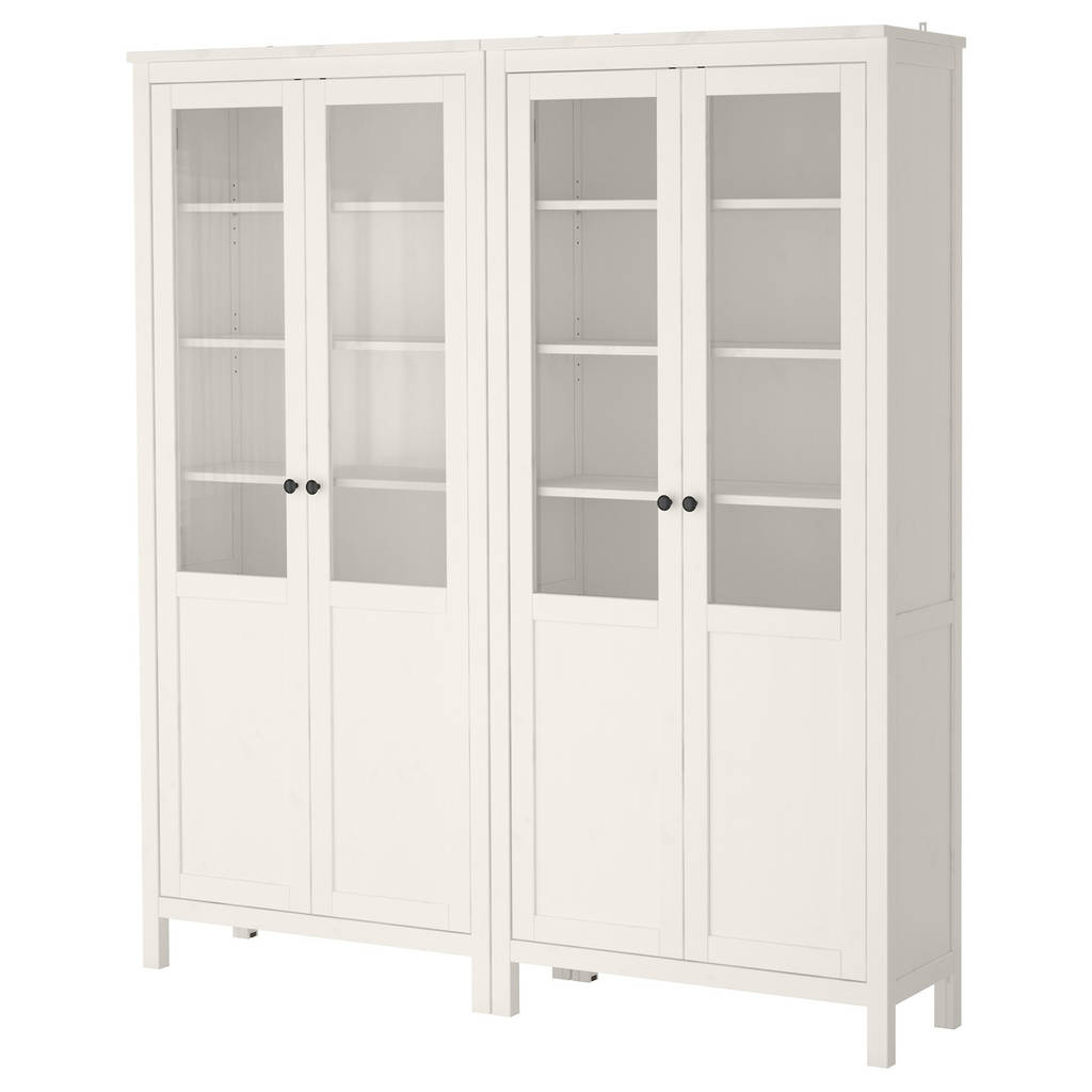 HEMNES Комбинация д/хранения+стекл дверц, белая морилка