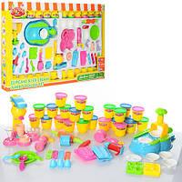 Пластилин MK 0681 мороженое, кекс, 24 цвета (баночки с крышкой), аппарат-пресс, формочки, инструмент