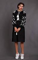 """Черное женское платье с вышивкой  """"Окошко"""""""