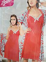 Женская ночная рубашка красного цвета с халатиком