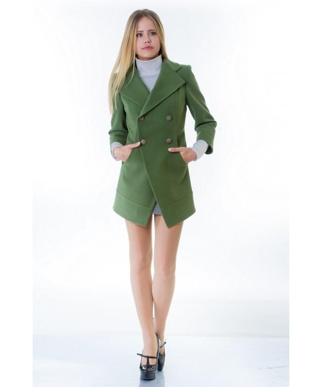 Пальто женское модель №16 фрак зеленое (весна/осень), р.40-42