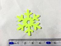 Нашивка снежинка лимонная 40мм