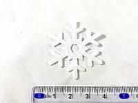 Нашивка снежинка белая  40мм