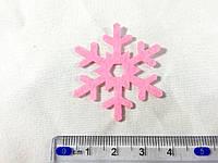 Нашивка снежинка малиновая 40мм