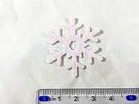 Нашивка снежинка розовая 40мм