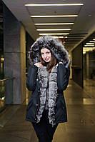 Куртка парка с натуральным мехом чернобурки