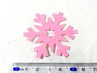 Нашивка снежинка малиновая 55 мм