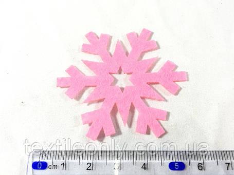 Нашивка сніжинка малинова 55 мм, фото 2