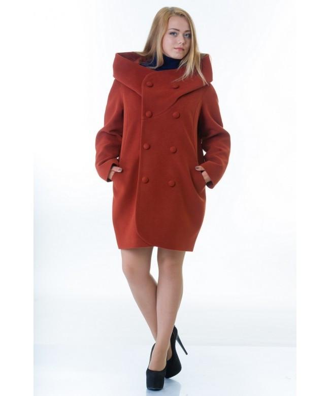 Пальто женское модель №14 oversize рыжее (весна/осень), р.46-48