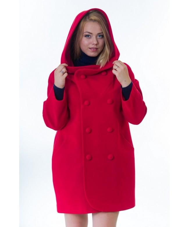 Пальто женское модель №14 oversize красное (весна/осень), р.46-52