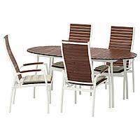 VINDALSÖ Стол 4 кресла, д/сада, белый/коричневый, бежевый Холло