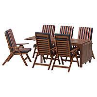 ÄPPLARÖ Таблица 6-кровать. стульев, на открытом воздухе, коричневая морилка, Ekerön черный