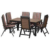 FALSTER Таблица 6-кровать. стульев, на открытом воздухе, черный, Ekerön черный