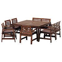ÄPPLARÖ Стол 6 стульев с podłok лавка, внешний, коричневая морилка, Ekerön черный