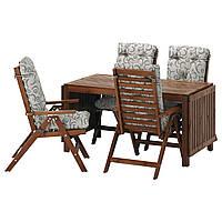 ÄPPLARÖ Таблица 4-кровать. стульев, на открытом воздухе, коричневая морилка, Stegön бежевый