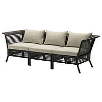 KUNGSHOLMEN / HÅLLÖ 3-местный диван,садовый, черно-коричневый, бежевый