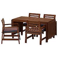 ÄPPLARÖ Стол и 4 стула из podłok., снаружи, коричневая морилка, Ekerön черный