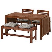 ÄPPLARÖ Стол 2 стула с podłok. скамья, коричневая морилка, Stegön бежевый