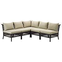 KUNGSHOLMEN / HÅLLÖ Садовый угловой диван 3+2, черно-коричневый, бежевый