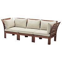 ÄPPLARÖ / HÅLLÖ Диван-кровать 3-местный, на открытом воздухе, коричневый бейц коричневый, бежевый