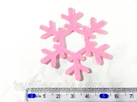 Нашивка снежинка малиновая 60 мм, фото 2