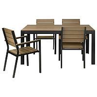 FALSTER Stół+4 krzesła z podłok., na zew., czarny, brązowy