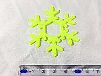 Нашивка снежинка лимонная 60 мм
