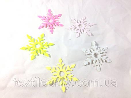 Нашивка снежинка малиновая 65 мм, фото 2