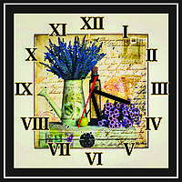 Квадратные настенные часы винтажные Лейка с цветами
