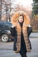 Куртка парка с натуральным мехом лисы голден фокс, фото 1
