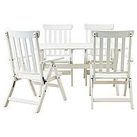 ÄNGSÖ Stół+4 rozkł. krzeseł, na zewnątrz, biała bejca biały
