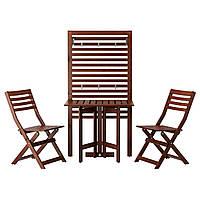 ÄPPLARÖ Панель+стол+2 стула, для сада, коричневая морилка
